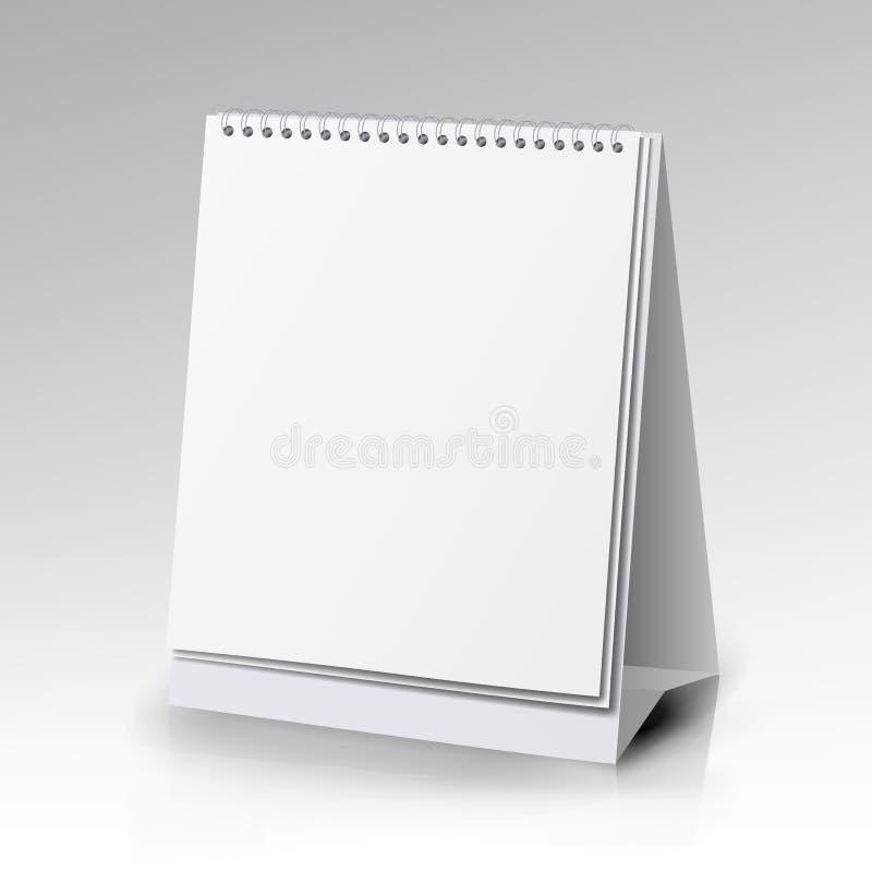 Κάθετο ρεαλιστικό μόνιμο κενό σπειροειδές επιτραπέζιο ημερολόγιο του διαφορετικού μεγέθους στην άσπρη απομονωμένη υπόβαθρο διανυσ διανυσματική απεικόνιση
