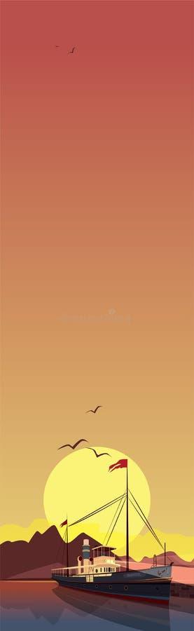 Κάθετο τοπίο με το σκάφος στο ηλιοβασίλεμα απεικόνιση αποθεμάτων