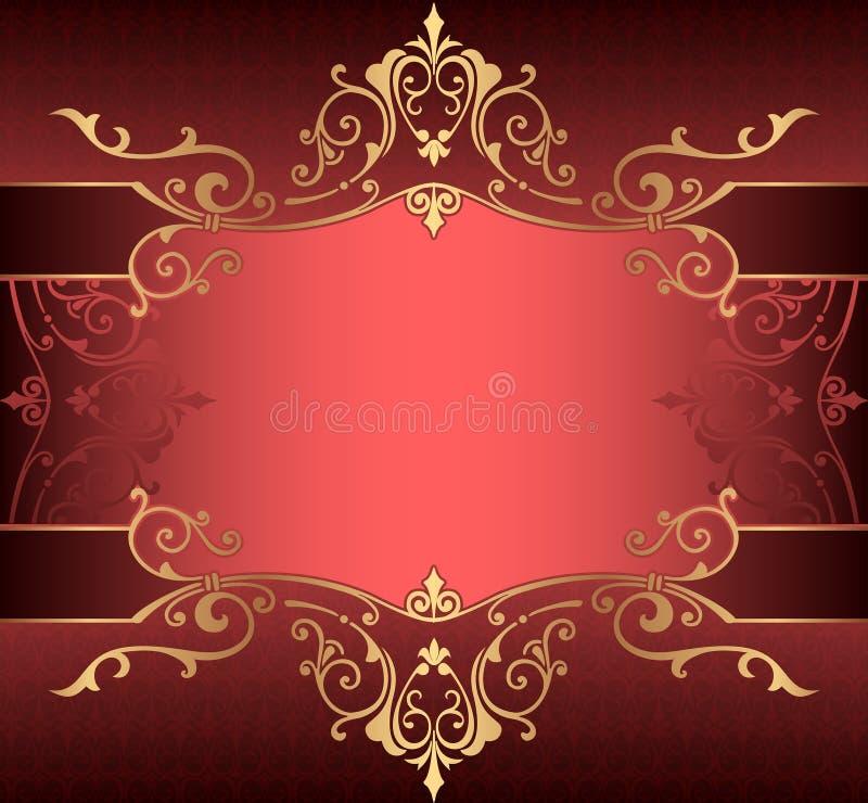 Κάθετο υπόβαθρο με το χρυσό filigree ασιατικό χρυσό υποβάθρου συνόρων πλαισίων με τις διακοσμήσεις δαντελλών και τα διακοσμητικά  διανυσματική απεικόνιση