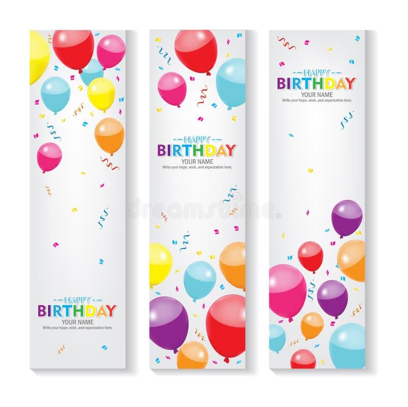 Κάθετο χρόνια πολλά έμβλημα Editable με το σύνολο διακοσμήσεων μπαλονιών και κομφετί Χ σχέδιο εμβλημάτων ελεύθερη απεικόνιση δικαιώματος
