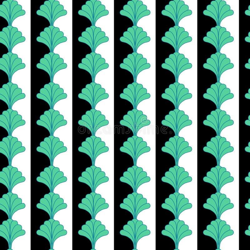 Κάθετο Floral άνευ ραφής σχέδιο σχεδίων με το υπόβαθρο λωρίδων ελεύθερη απεικόνιση δικαιώματος