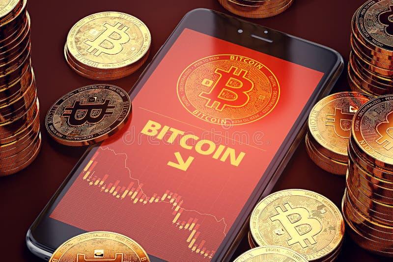 Κάθετο smartphone με το διάγραμμα πτώσης Bitcoin επί της οθόνης μεταξύ των σωρών Bitcoins Έννοια πτώσης Bitcoin ελεύθερη απεικόνιση δικαιώματος