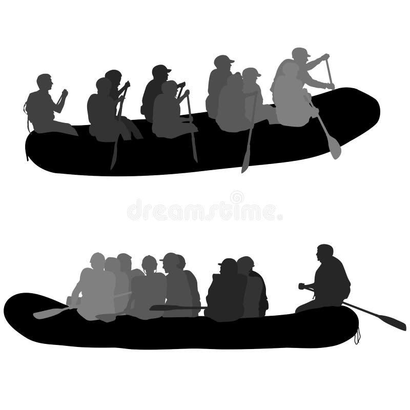 Κάθοδος σκιαγραφιών στις δοκούς ενός νερού ποταμού σε ένα άσπρο υπόβαθρο απεικόνιση αποθεμάτων