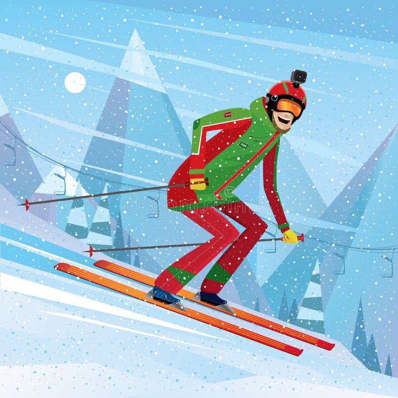 Κάθοδος από το βουνό στα σκι ελεύθερη απεικόνιση δικαιώματος