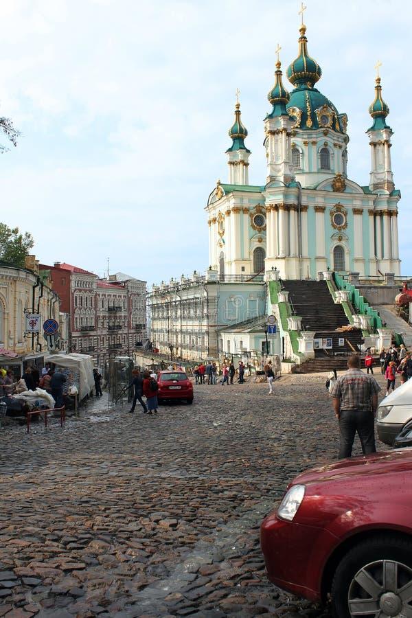 Κάθοδος Andreevsky και εκκλησία του ST Andrew ` s, Κίεβο στοκ εικόνα με δικαίωμα ελεύθερης χρήσης