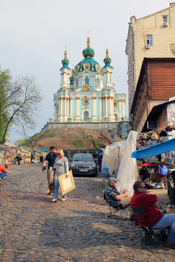 Κάθοδος Andreevsky και εκκλησία του ST Andrew ` s, Κίεβο στοκ εικόνες