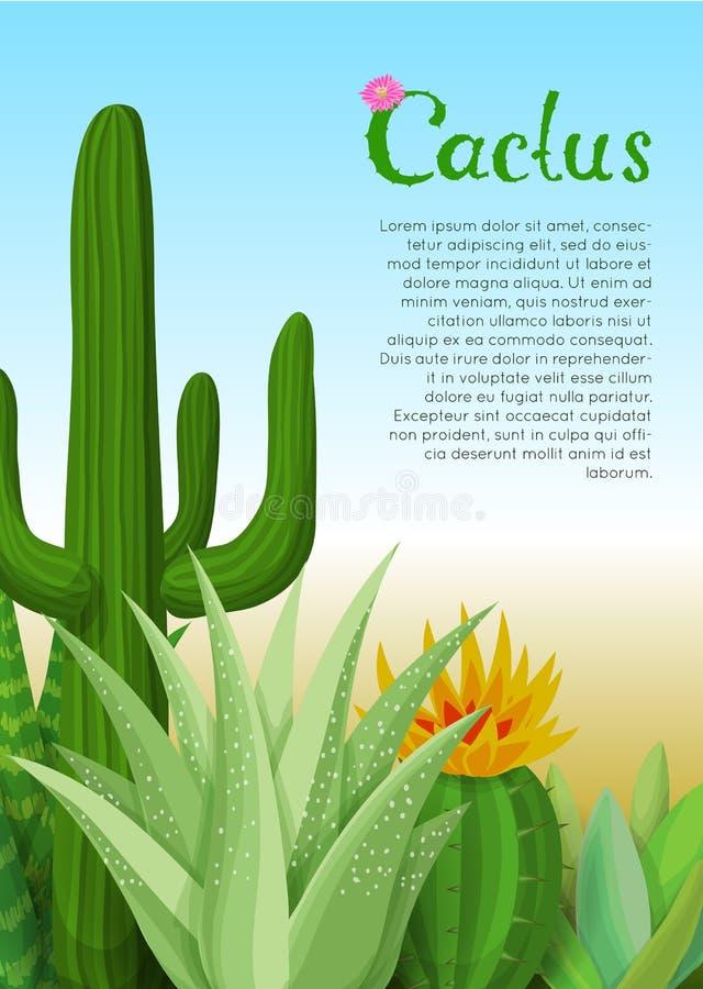 Κάκτοι και succulents αφίσα διανυσματική απεικόνιση