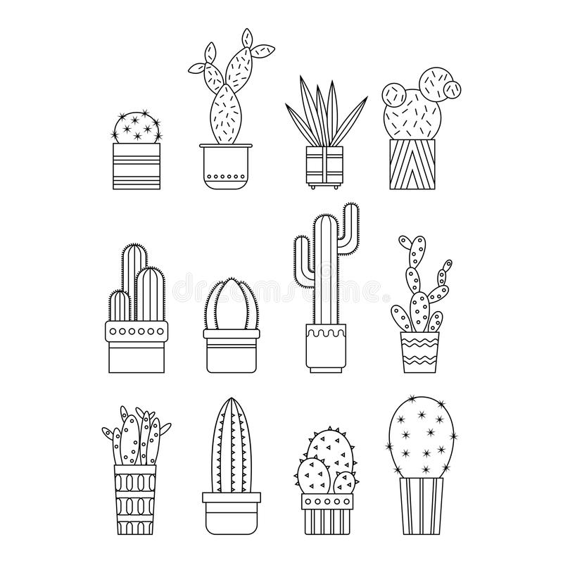 Κάκτοι και succulents Επίπεδα γραμμικά εικονίδια, απεικονίσεις του σε δοχείο απομονωμένου εγκαταστάσεις υποβάθρου Γραπτά αντικείμ απεικόνιση αποθεμάτων