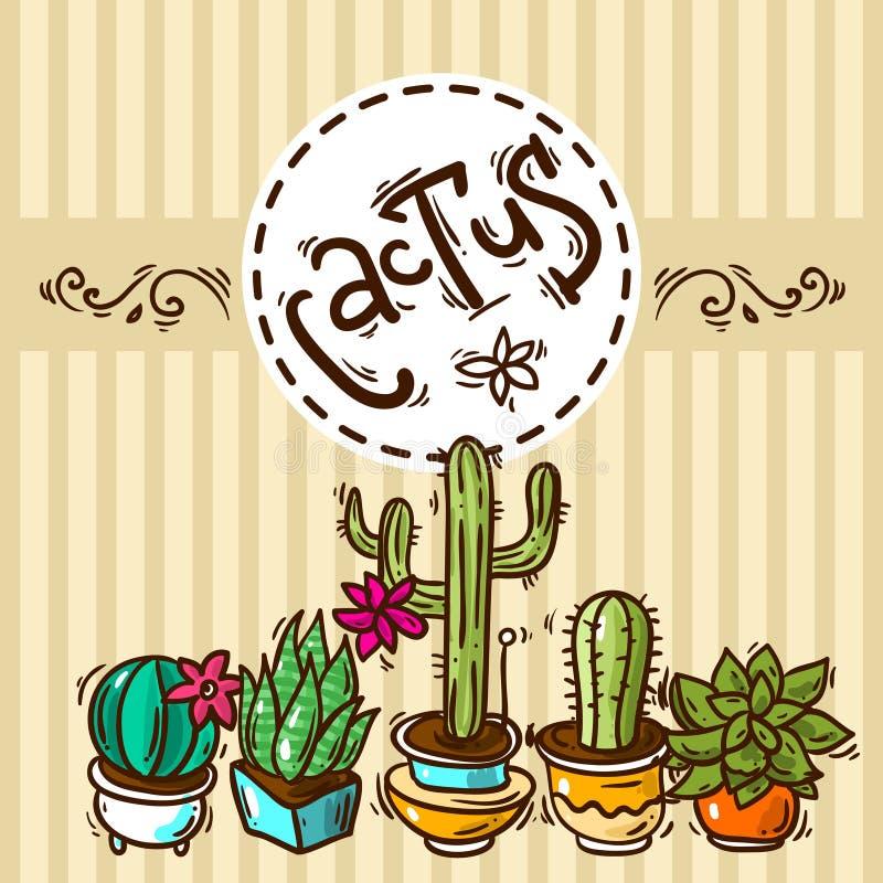 Κάκτοι και succulents απεικόνιση αποθεμάτων