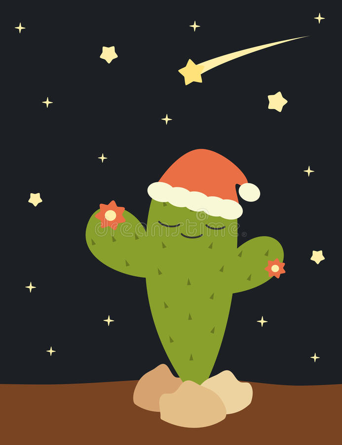 Κάκτος Χριστουγέννων με την αστεία απεικόνιση διακοπών καπέλων του santa απεικόνιση αποθεμάτων