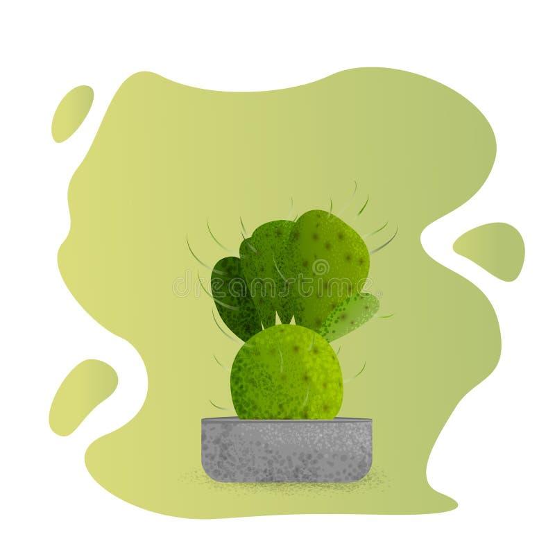 Κάκτος flowerpot που απομονώνεται επίσης corel σύρετε το διάνυσμα απεικόνισης διανυσματική απεικόνιση