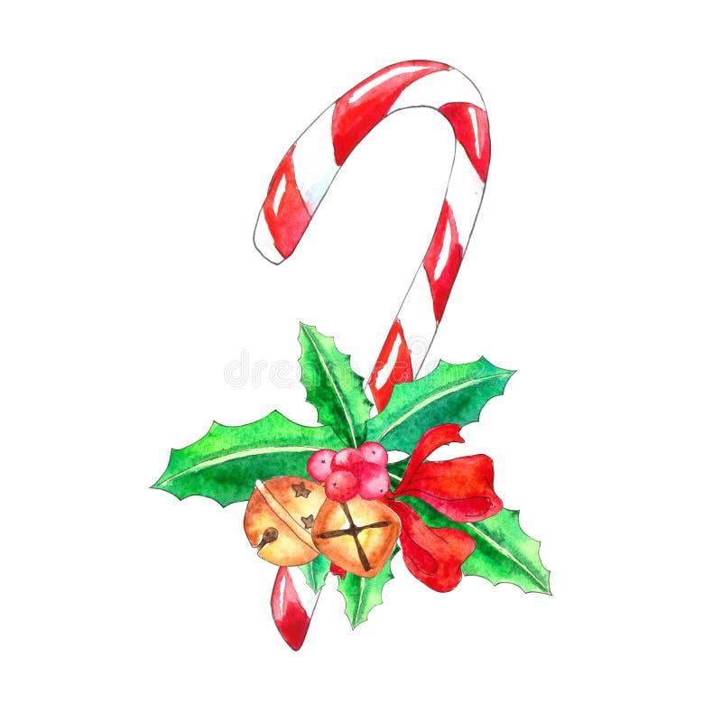 Κάλαμος καραμελών Χριστουγέννων με τα κάλαντα και το κόκκινο τόξο διανυσματική απεικόνιση