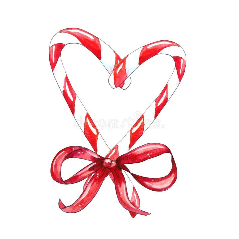 Κάλαμος καραμελών Χριστουγέννων με το κόκκινο τόξο διανυσματική απεικόνιση