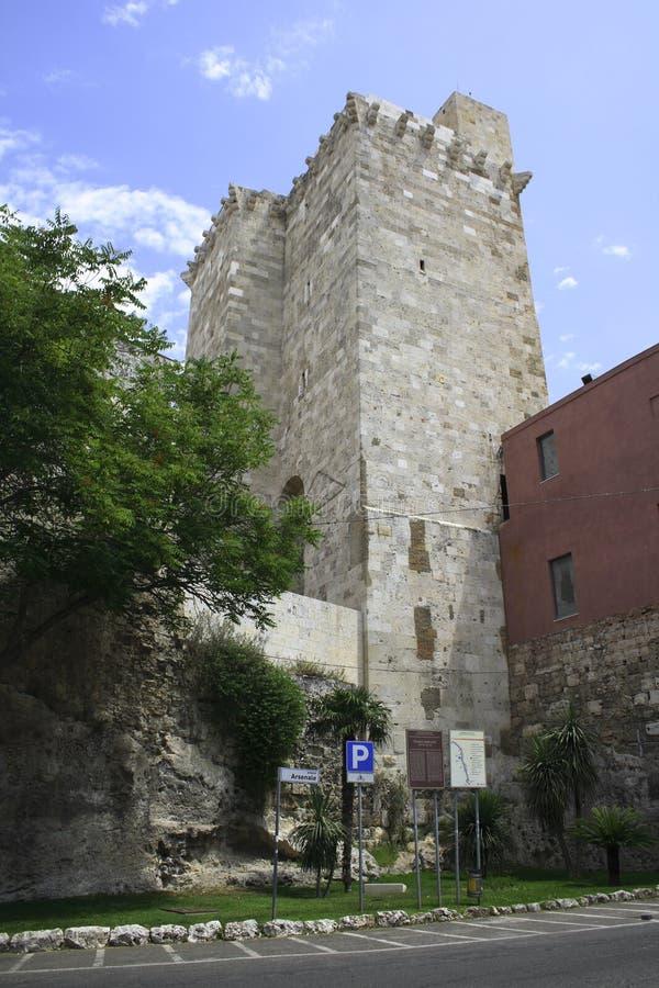 Κάλιαρι castello Di pancrazio SAN torre στοκ φωτογραφία με δικαίωμα ελεύθερης χρήσης