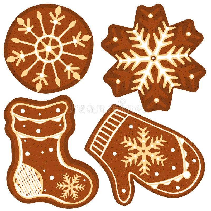 Κάλτσα μελοψωμάτων, γάντι και snowflakes ζωηρόχρωμη φωτεινή αφίσα απεικόνιση αποθεμάτων