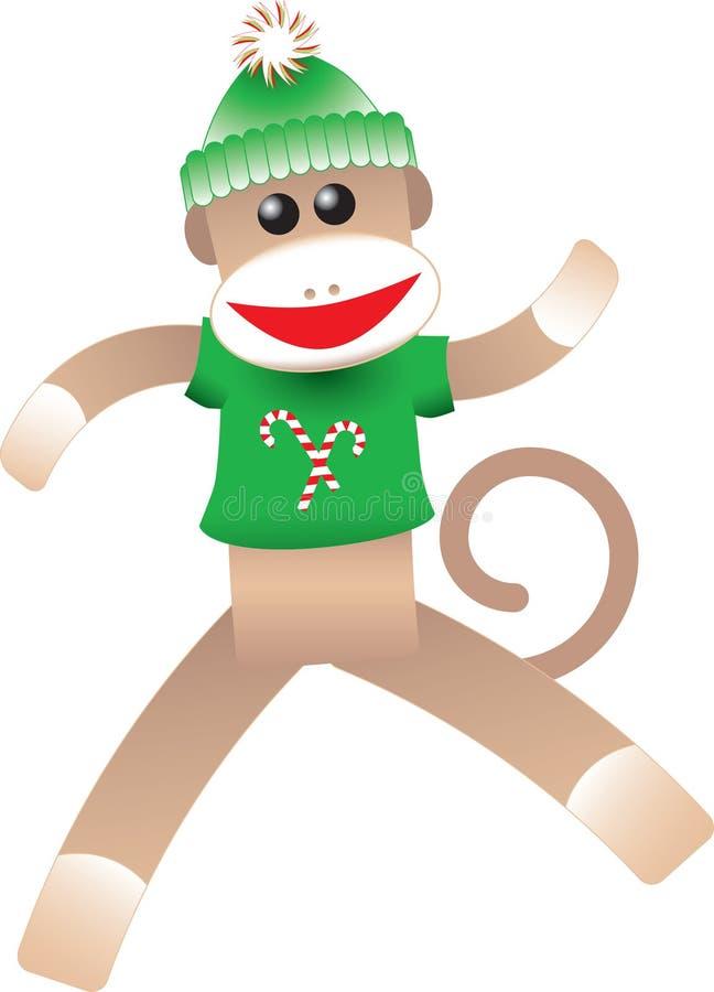 κάλτσα πιθήκων Χριστουγέννων ελεύθερη απεικόνιση δικαιώματος