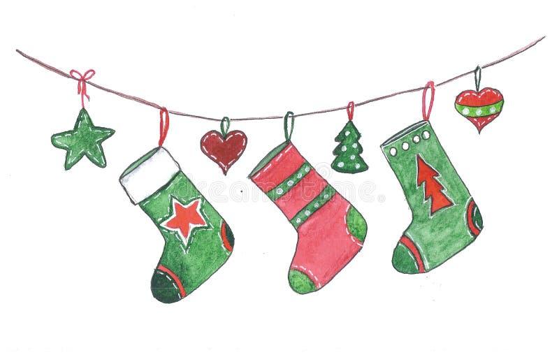 Κάλτσες Χριστουγέννων που κρεμούν στο σχοινί στοκ φωτογραφίες με δικαίωμα ελεύθερης χρήσης