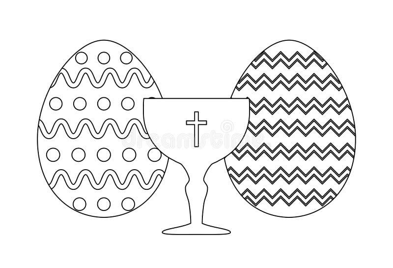 Κάλυκας ιερός με τα αυγά Πάσχας απεικόνιση αποθεμάτων