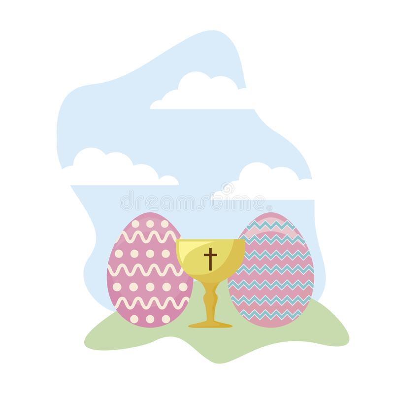 Κάλυκας ιερός με τα αυγά Πάσχας ελεύθερη απεικόνιση δικαιώματος