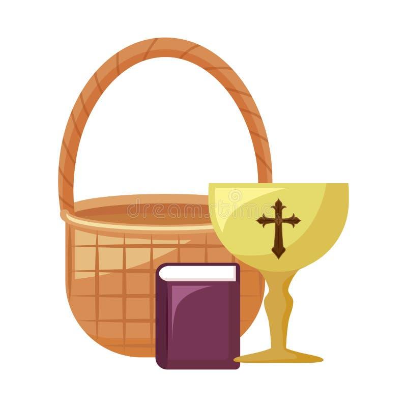 Κάλυκας ιερός με την ιερή λυγαριά Βίβλων και καλαθιών ελεύθερη απεικόνιση δικαιώματος