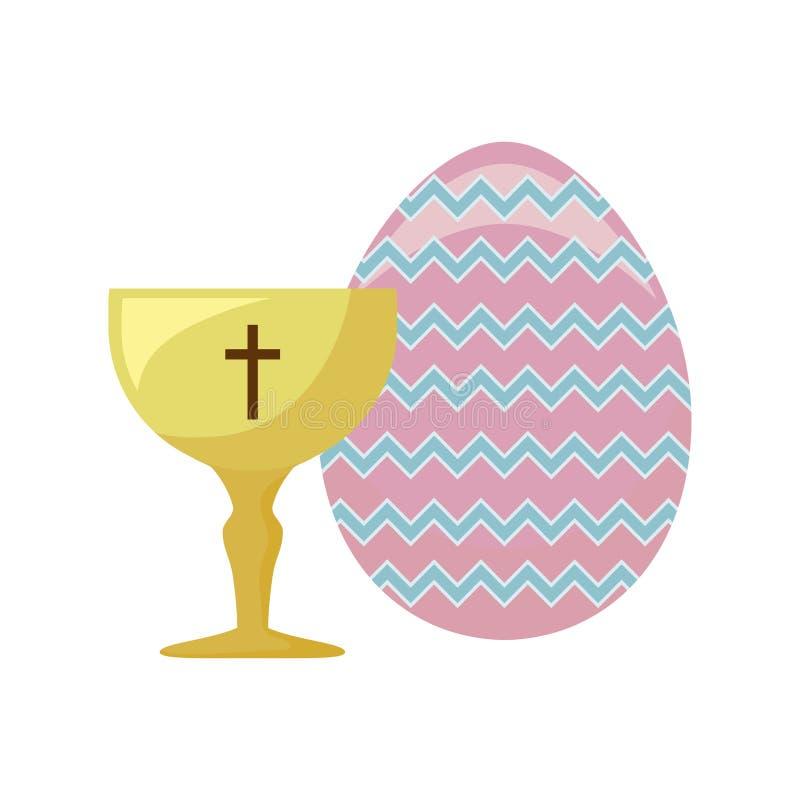 Κάλυκας ιερός με το αυγό Πάσχας απεικόνιση αποθεμάτων