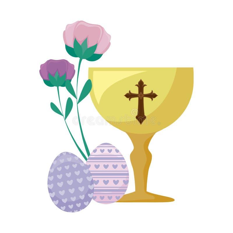 Κάλυκας με τα αυγά Πάσχας και των λουλουδιών απεικόνιση αποθεμάτων