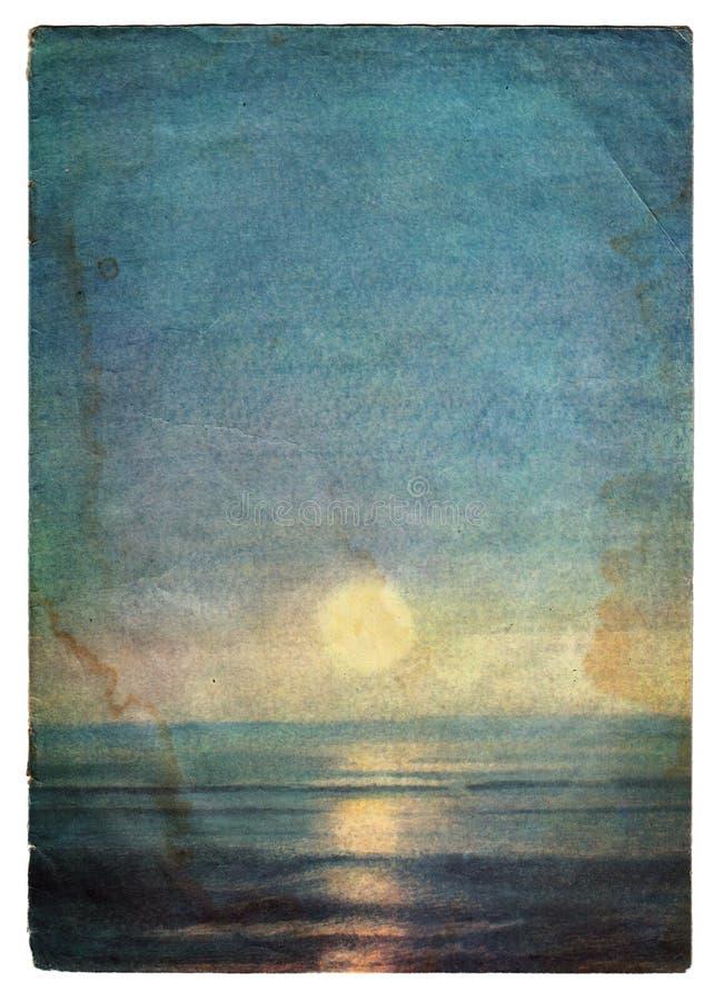 Κάλυψη εγγράφου τοπίων θάλασσας grunge με τα σημάδια ηλικίας ελεύθερη απεικόνιση δικαιώματος