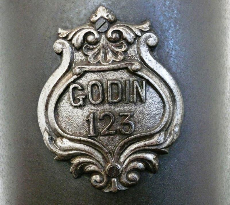Κάλυψη των όπλων Jean-Baptiste André Godin στοκ φωτογραφία
