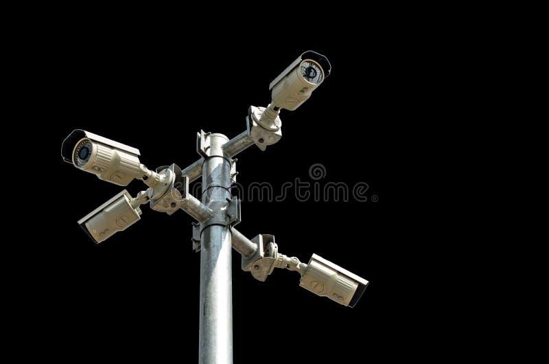 Κάμερα ασφαλείας που απομονώνονται στο μαύρο υπόβαθρο στοκ εικόνα