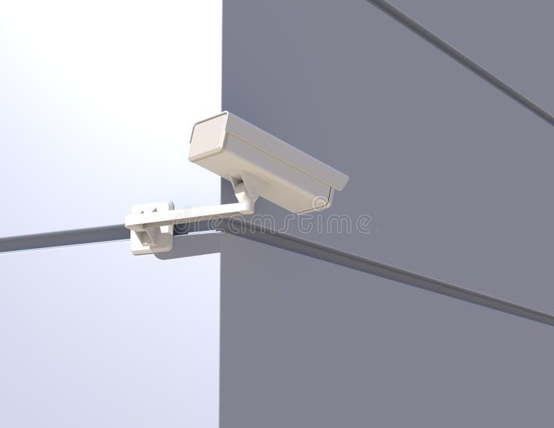 Κάμερα ασφαλείας που κρυφοκοιτάζουν γύρω από τη γωνία διανυσματική απεικόνιση