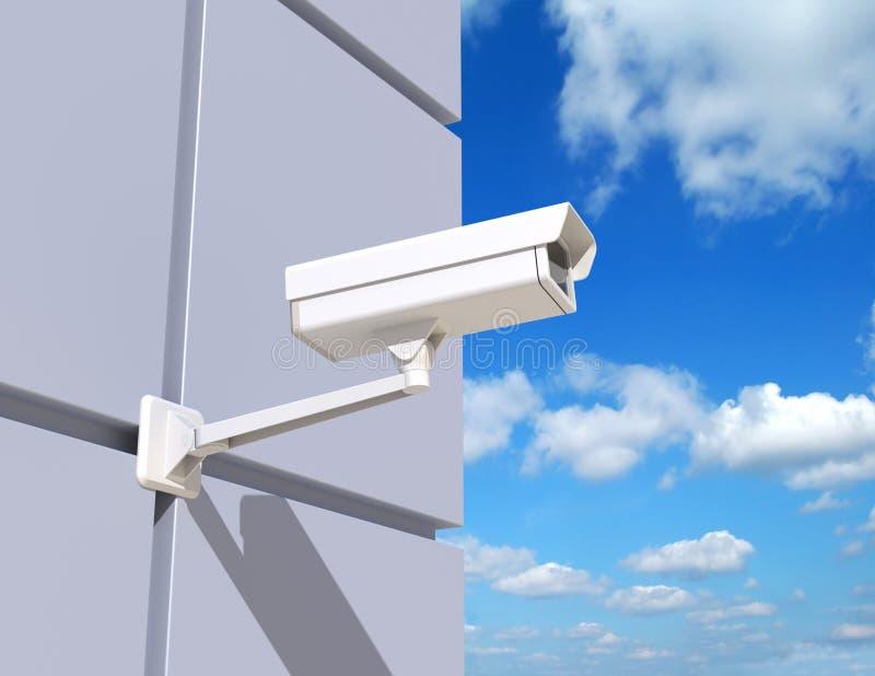 Κάμερα ασφαλείας που τοποθετούνται στην πρόσοψη του κτηρίου ελεύθερη απεικόνιση δικαιώματος