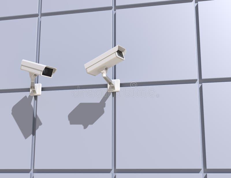 Κάμερα ασφαλείας που τοποθετούνται στην πρόσοψη του κτηρίου διανυσματική απεικόνιση