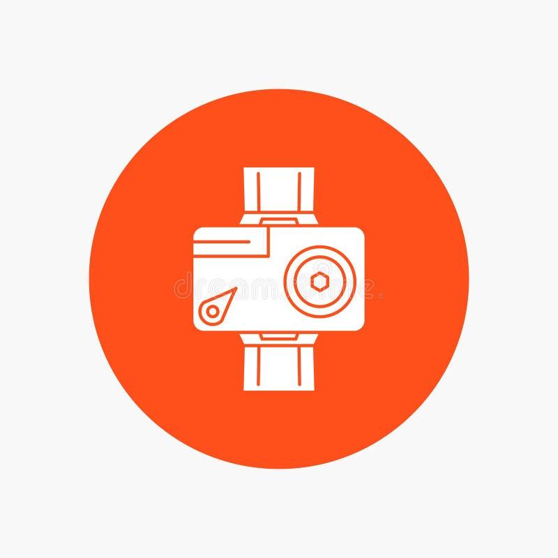κάμερα, δράση, ψηφιακός, τηλεοπτικός, άσπρο εικονίδιο Glyph φωτογραφιών στον κύκλο Διανυσματική απεικόνιση κουμπιών διανυσματική απεικόνιση