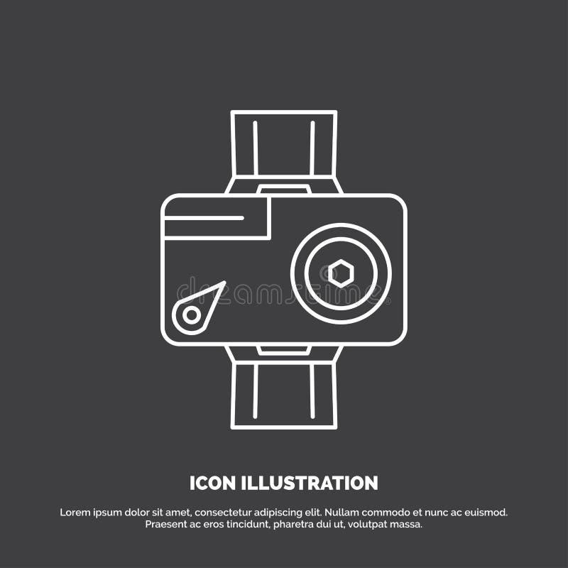 κάμερα, δράση, ψηφιακός, τηλεοπτικός, εικονίδιο φωτογραφιών Διανυσματικό σύμβολο γραμμών για UI και UX, τον ιστοχώρο ή την κινητή διανυσματική απεικόνιση