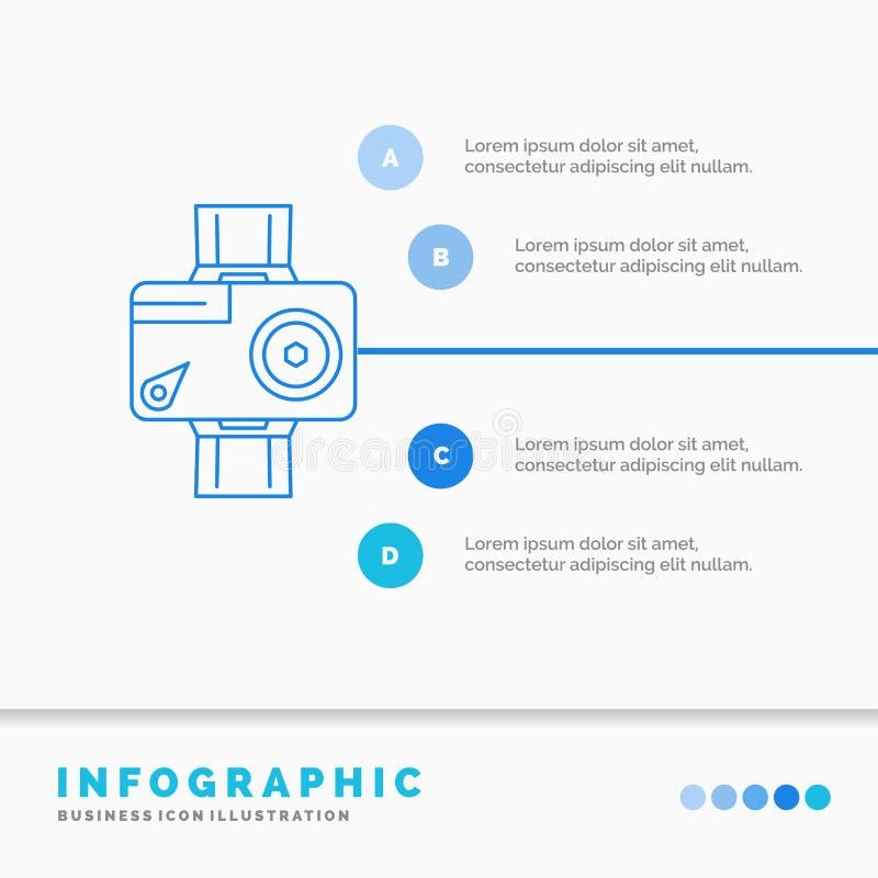κάμερα, δράση, ψηφιακό, τηλεοπτικό, πρότυπο Infographics φωτογραφιών για τον ιστοχώρο και παρουσίαση Γραμμών μπλε διάνυσμα ύφους  απεικόνιση αποθεμάτων