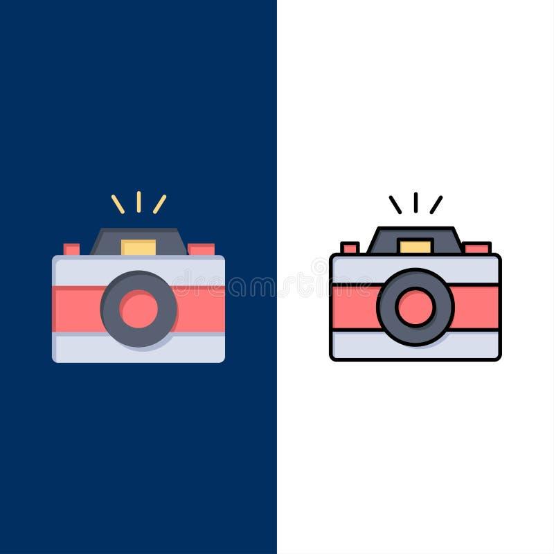 Κάμερα, εικόνα, φωτογραφία, εικονίδια εικόνων Επίπεδος και γραμμή γέμισε το καθορισμένο διανυσματικό μπλε υπόβαθρο εικονιδίων διανυσματική απεικόνιση