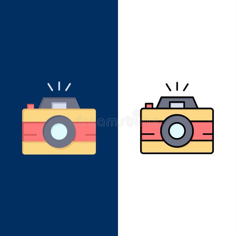 Κάμερα, εικόνα, φωτογραφία, εικονίδια φωτογραφίας Επίπεδος και γραμμή γέμισε το καθορισμένο διανυσματικό μπλε υπόβαθρο εικονιδίων απεικόνιση αποθεμάτων