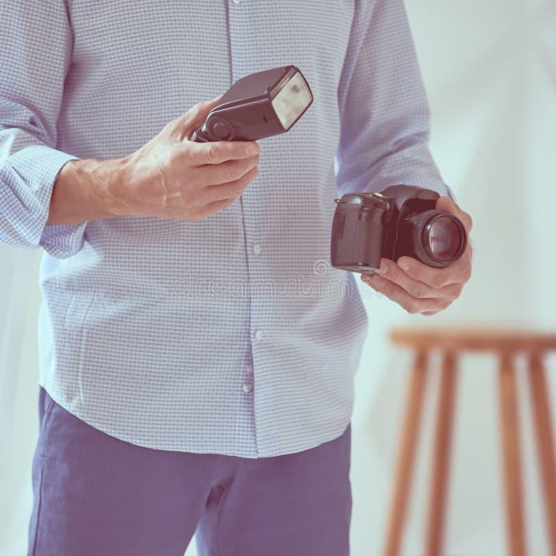 Κάμερα και λάμψη εκμετάλλευσης ατόμων στοκ εικόνες