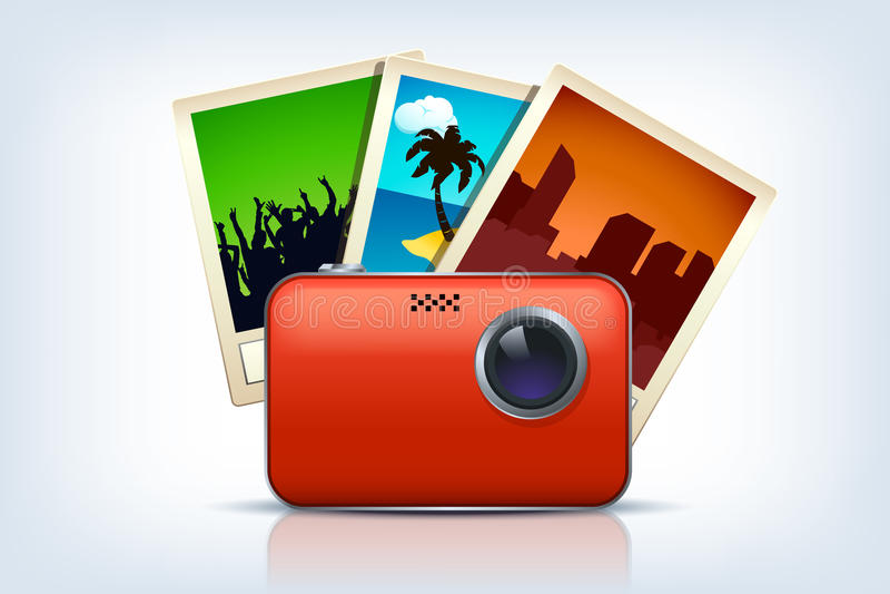 Κάμερα με τρεις φωτογραφίες απεικόνιση αποθεμάτων