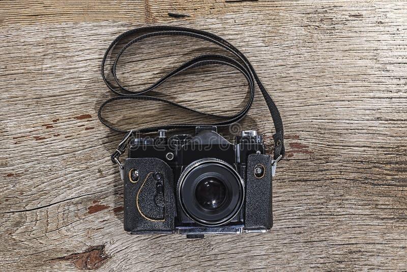 Κάμερα, ξύλο, υπόβαθρο, ξύλινη, εκλεκτής ποιότητας, παλαιά, τοπ άποψη, διάστημα αντιγράφων, αναδρομικό, φωτογραφία στοκ εικόνα