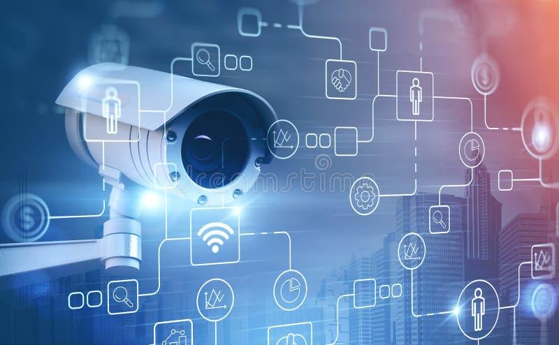 Κάμερα οδών επιτήρησης στην πόλη και τα εικονίδια ελεύθερη απεικόνιση δικαιώματος