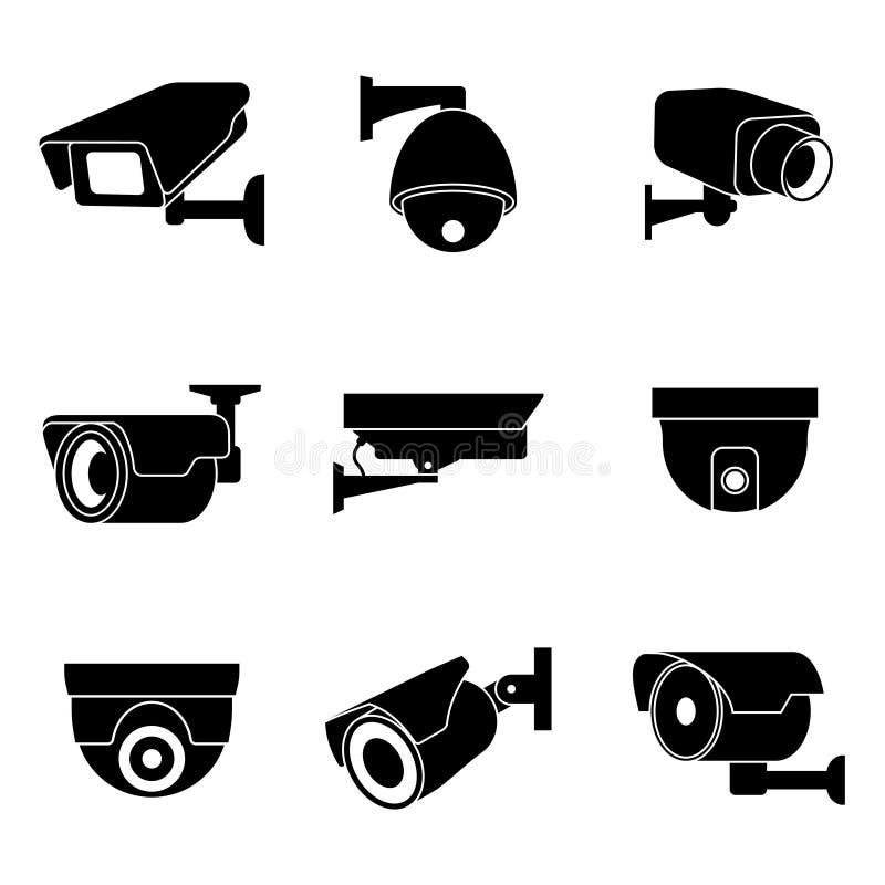 Κάμερα παρακολούθησης ασφάλειας, διανυσματικά εικονίδια CCTV ελεύθερη απεικόνιση δικαιώματος