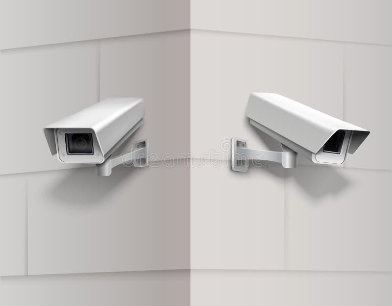 Κάμερα παρακολούθησης στον τοίχο απεικόνιση αποθεμάτων