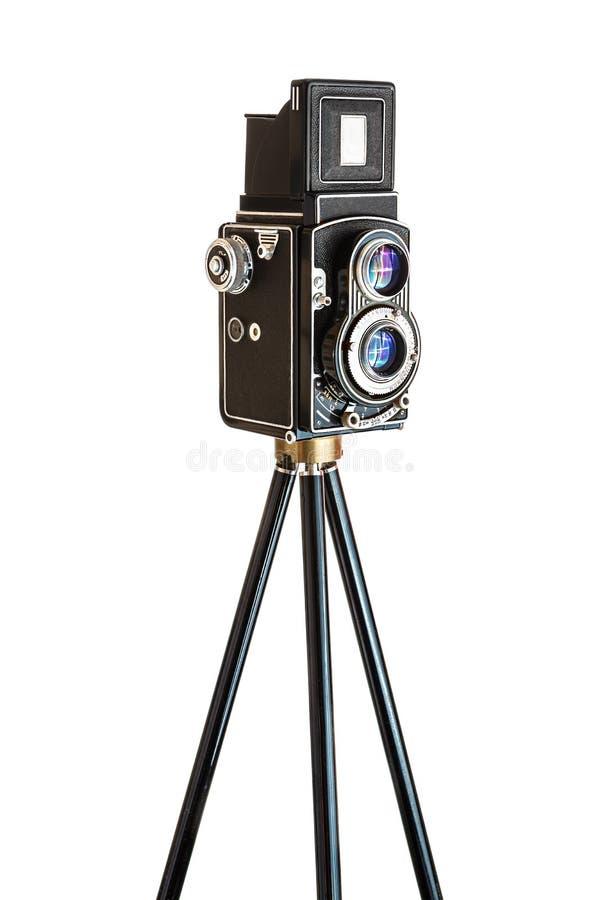 Κάμερα Vinatage στο τρίποδο στοκ εικόνες