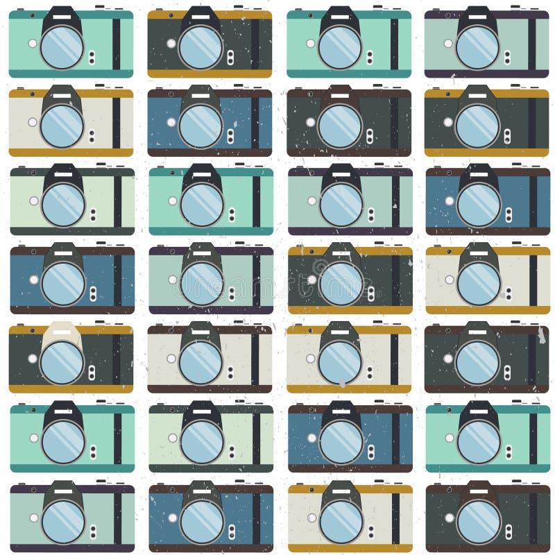 Κάμερες φωτογραφιών, ζωηρόχρωμο άνευ ραφής σχέδιο Διακοσμητικό υπόβαθρο διανυσματική απεικόνιση