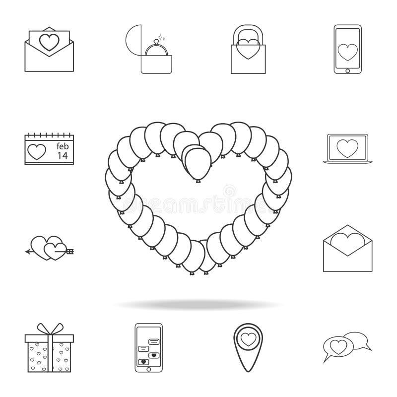 κάμπια με μορφή του εικονιδίου καρδιών Σύνολο εικονιδίων στοιχείων αγάπης Γραφικό σχέδιο εξαιρετικής ποιότητας Σημάδια, collecti  ελεύθερη απεικόνιση δικαιώματος