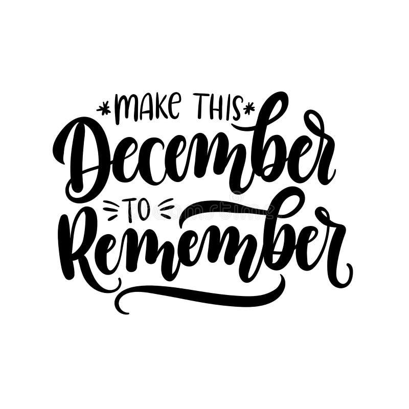 Κάνετε αυτόν τον Δεκέμβριο για να θυμηθείτε την κάρτα με τα snowlakes Εκτάριο ελεύθερη απεικόνιση δικαιώματος