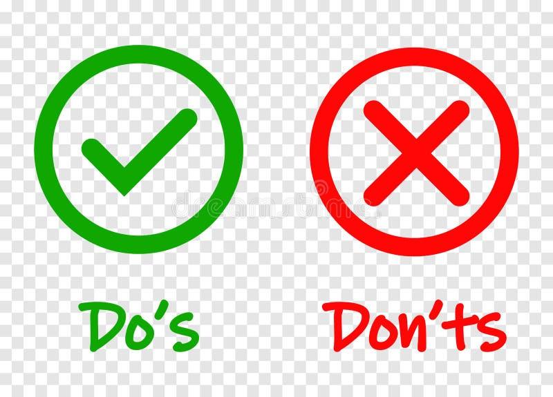 Κάνετε και μην ελέγξτε τα εικονίδια σημαδιών κροτώνων και Ερυθρών Σταυρών που απομονώνονται στο διαφανές υπόβαθρο Το διάνυσμα κάν διανυσματική απεικόνιση