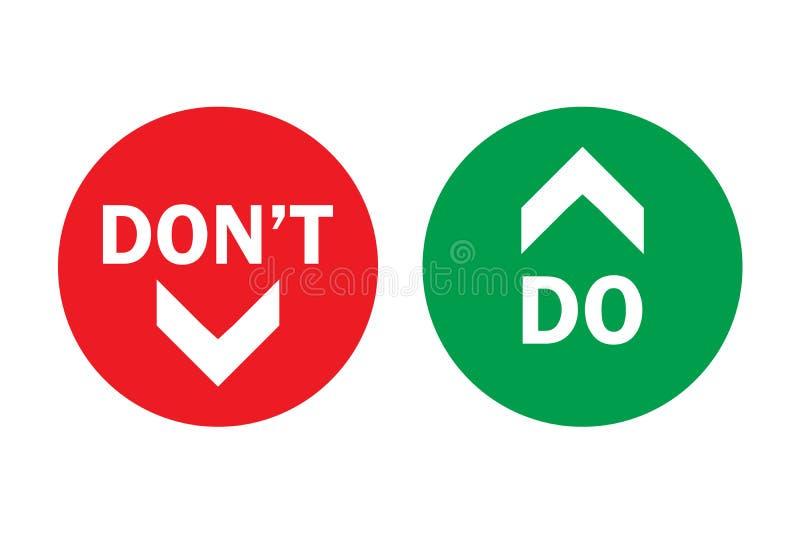 Κάνετε και φορέστε ` τ πάνω-κάτω, πλεονεκτήματα - και - πράσινα σωστά βέλη μειονεκτημάτων αριστερά στους κύκλους με το διαφανές υ απεικόνιση αποθεμάτων