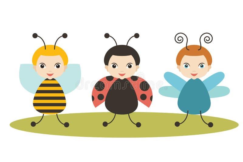 Κάνθαροι, λαμπρίτσα κινούμενων σχεδίων, μέλισσα και λιβελλούλη στο άσπρο υπόβαθρο απεικόνιση αποθεμάτων